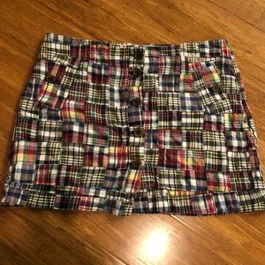 J Crew women's madras mini skirt size 12